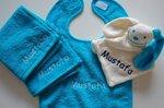 Spuugdoek met naam Turquoise Blauw