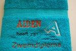 Zwemdiploma A handdoek blauw met Naam