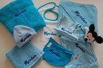 Babymuts Blauw met Knoopjes 50/56 met Naam