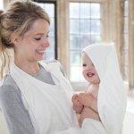 Badschort & Baby Badcape in 1 / Omslagdoek Gebroken Wit