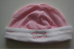 Babymuts met Naam Roze met Witte rand