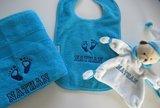 blauwe handdoek met naam