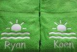 badlaken groen met naam