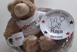cadeau mand voor baby met logo
