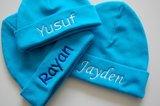 babymutsjes turqouise blauw met naam