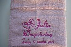 Handdoek met naam en doop tekst