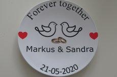 Huwelijk sier broodbord met naam