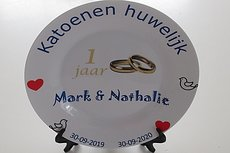 Katoenen huwelijk sierbord met naam