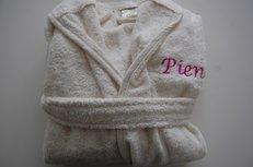 Kinderbadjas met Naam Ecru / badjassen maat 1-6 jaar
