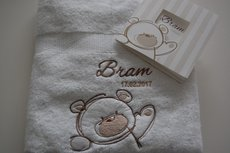 Handdoek met Geboortekaart thema