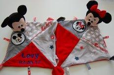 Mickey of Minnie Mouse Knuffeldoek  Rood / Zwart met Naam