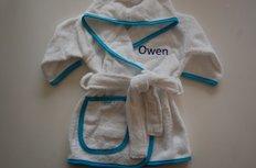 kinderbadjas 1-2 jaar Wit met Blauwe bies