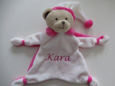 Beren knuffeldoek met naam roze