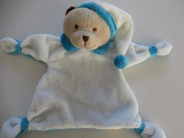 Beren knuffeldoek met naam blauw