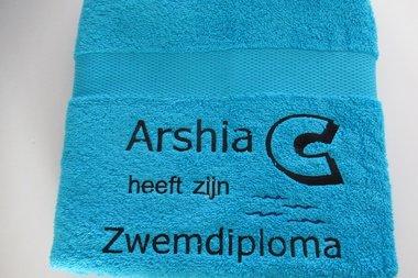 Zwemdiploma C handdoek Blauw met Naam