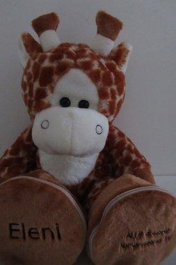 Geboorte Knuffel Girafje met Naam en Geboorte datum