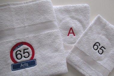 Handdoek Verkeersbord, Naam + Leeftijd