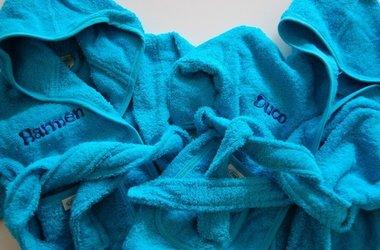 Badjas Donker blauw / Turquoise blauw met Naam
