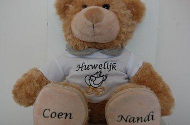 Trouwbeer / Knuffelbeer met namen van bruid en bruidegom
