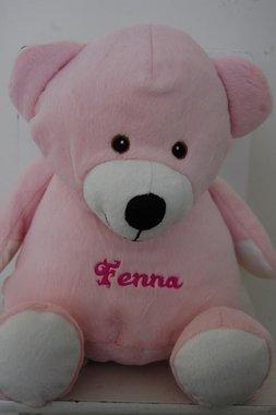 Geboorte borduur knuffelbeer Roze