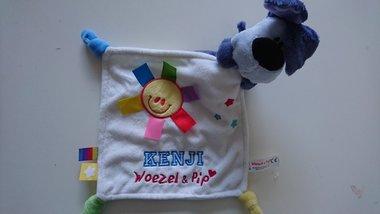 Woezel Knuffeldoek met Naam / Woezel knuffelpop met gekleurde labeltjes