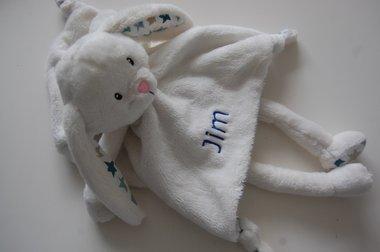 Knuffelkonijn Wit / Blauw met naam