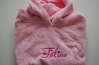 Bad poncho lichtroze / Kinderponcho zacht roze met Naam