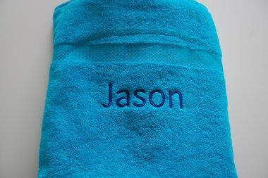 Badlaken Turquoise Blauw met Naam