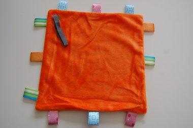 Labeldoek / Speendoek Oranje met Naam