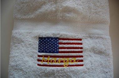 Handdoek Vlag Amerika met Naam
