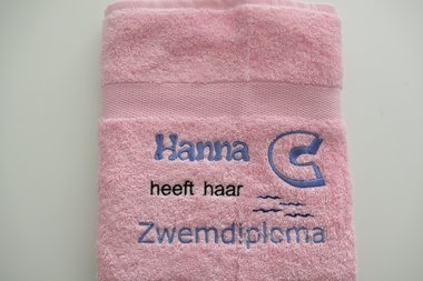 Zwemdiploma C Roze handdoek met Naam