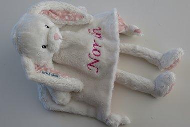 Knuffelkonijn Wit / Roze met naam
