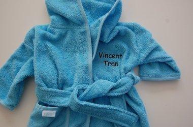 Badjas Baby blauw / lichtblauw met Naam