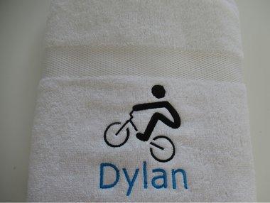 Handdoek met naam en BMX Fiets