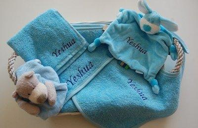 Kraammand Baby blauw / Lichtblauw met Naam