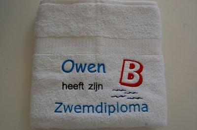Zwemdiploma B witte handdoek met Naam