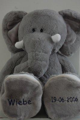 Geboorte Knuffel Olifant met Naam en Geboorte datum