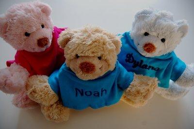 Knuffelbeer met Naam Ivoor, Beige, Lichtroze of Lichtblauw
