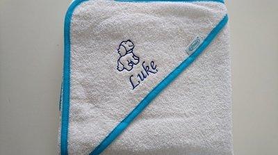 Badcape met geboortekaart thema