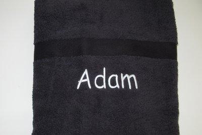 badlaken zwart met naam