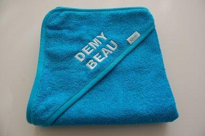 Badcape met naam Donkerblauw