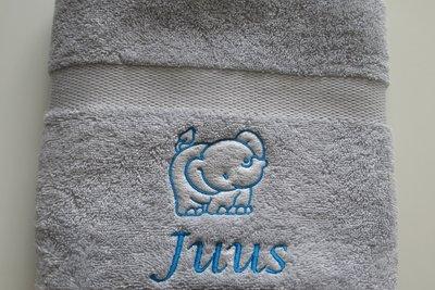 Handdoek met naam Grijs