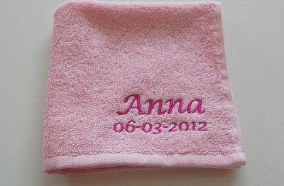 Spuugdoekje met naam Baby Roze