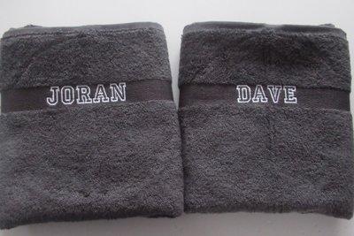 Handdoek met naam Donkergrijs