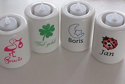 kaarsen met naam en afbeelding