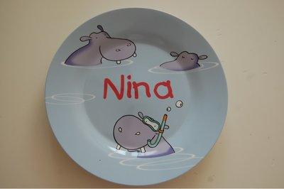 Nijlpaard Kinderbordje met Naam