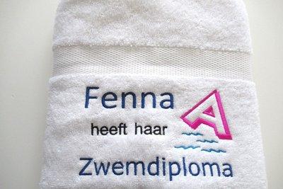 Zwemdiploma A handdoek wit met Naam