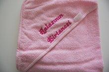 lichtroze badcape met naam