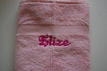 handdoek zachtroze met naam